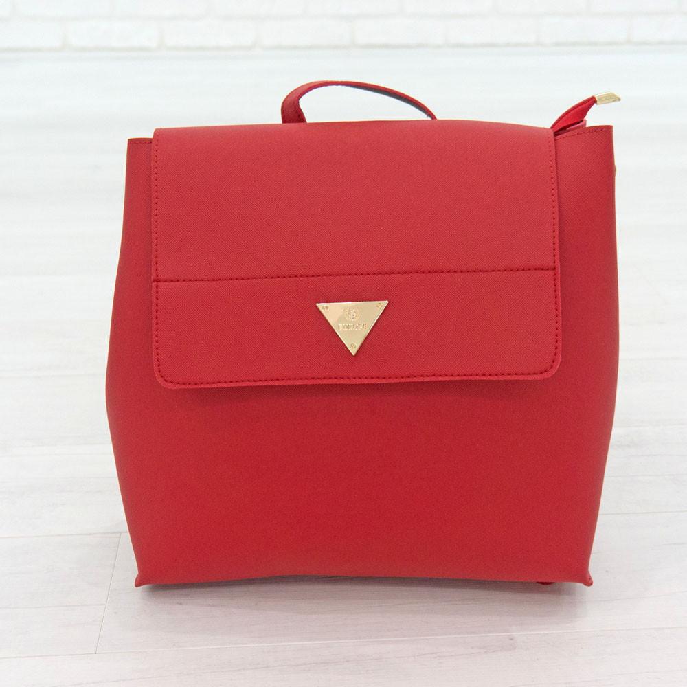 Рюкзак из искусственной кожи красный (К-308-2)