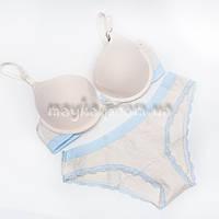 Хлопковый комплект женского нижнего белья Weiyesi 1016 с трусиками цвет бежевый 75-85B W1016-2-85B