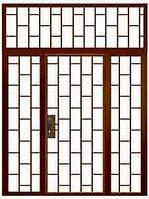 Дверь тамбурная двустворчатая с фрамугой и доп. элементами