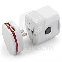 Сетевой адаптер, универсальный, дорожный, 220В 6A/USB-выход 5В 1A, белый