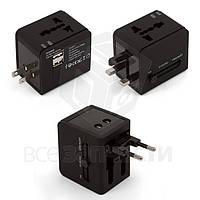 Сетевой адаптер, универсальный, дорожный, 220В 6A/USB-выход 5В 1A, черный