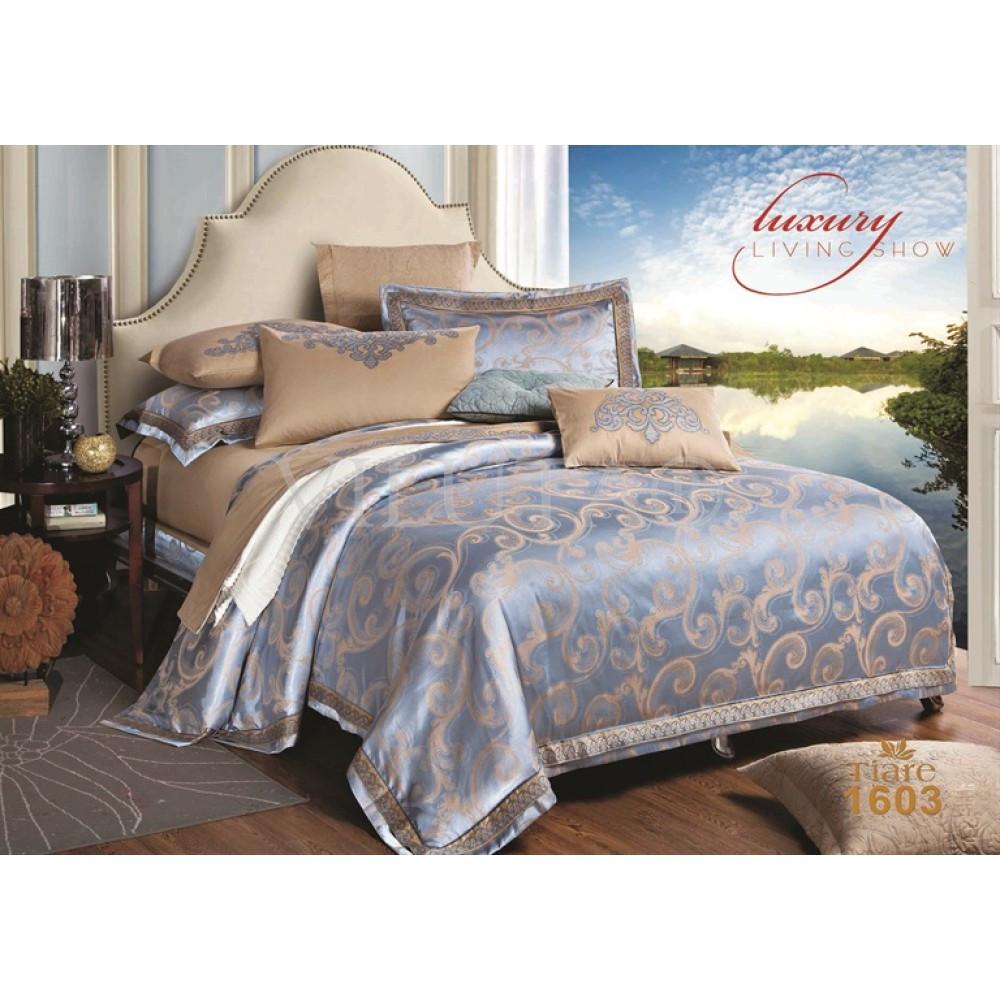 Элитный комлект постельного белья сатин жаккард Tiare евро 1603