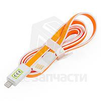 USB дата-кабель для мобильных телефонов Apple; планшетов Apple, оранжевый, с индикатором зарядки, 100 см, Lightning для Apple, USB тип-A