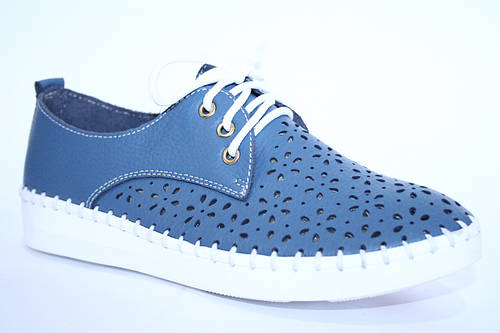Мокасины синие с перфорацией