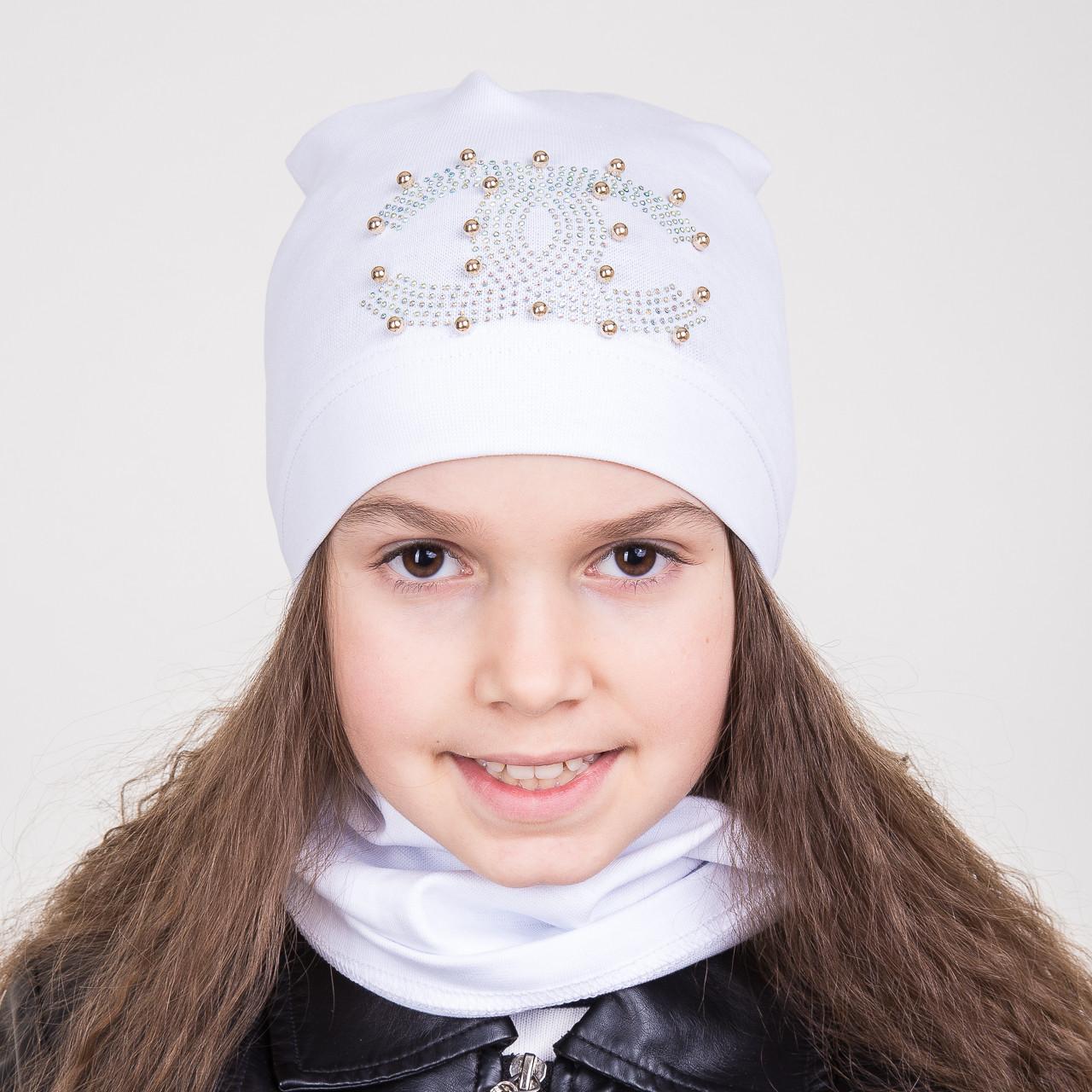 Комплект из шапки и хомута на весну для девочки с бабочкой (5шт/уп) - Артикул 2008