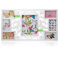 Мультирамка Бабочка на 7 фотографий ( белая )