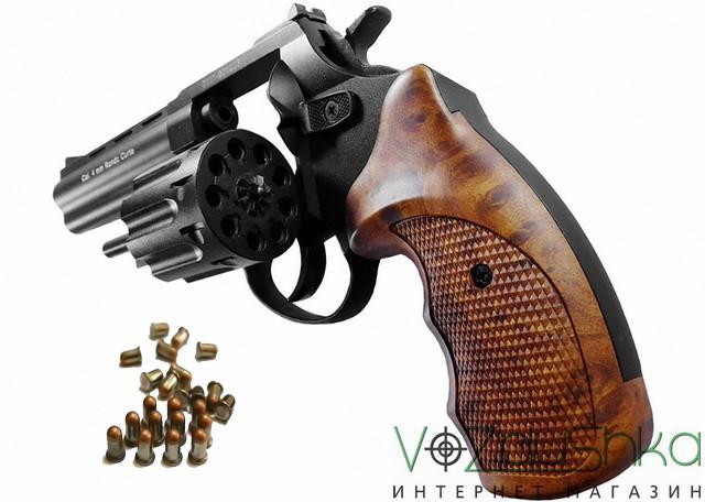Револьвер флобера STALKER S 4,5 wood с откинутым барабаном из силумина