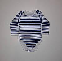 Боди с длинным рукавом детский синяя полоска Primark 80 см