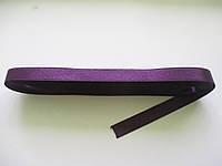 Стрічка атласна  двостороння 1 см. (10 метрів) фіолетова темна