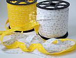 Косая бейка из хлопка с белыми цветочками на жёлтом фоне (18 мм ширина)., фото 5