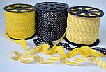 Косая бейка из хлопка с жёлтой полоской 5 мм , фото 4