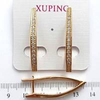 Серьги 3.5см Xuping медзолото с цирконием 290