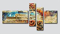 """Авторская модульная картина """"прогулка по старому городу"""""""