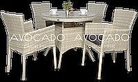 Комплект плетеный для ресторана   RONDO / LERIDA  WHITE стол 80см +4 кресла