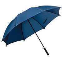 Ветроустойчивый зонт-трость синего цвета, под нанесение логотипов, рекламный