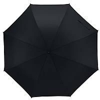 Ветроустойчивый зонт-трость черного цвета, под нанесение логотипов, рекламный
