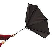 Ветроустойчивый зонт-трость серого цвета, под нанесение логотипов, рекламный