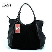 Объемная черная женская сумка из натуральной замши art. 1327z
