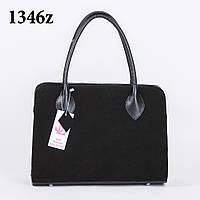 Стильная классическая женская черная замшевая сумка art. 1346z