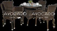 Комплект плетеный для ресторана   RONDO / LERIDA  modern braun  стол 80см +4 кресла