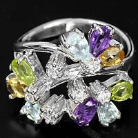 Серебряное кольцо  цитрин, топаз, аметист, перидот 15,75
