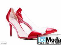 Роскошные женские туфли Girnaive Red на высоком каблуке с острым носком и прозрачными вставками по бокам красные