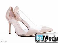 Роскошные женские туфли Girnaive Beige  на высоком каблуке с острым носком и прозрачными вставками по бокам бежевые