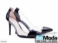 Роскошные женские туфли Girnaive Black на высоком каблуке с острым носком и прозрачными вставками по бокам черные