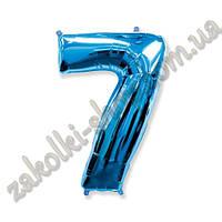 """Фольгированные воздушные шары FLEXMETAL Испания, модель 901767A, цифра """"7"""" синяя, 26""""/66см X 34""""/86см, 1 штука"""