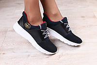 Женские кроссовки, черные, кожаные, с текстильными вставками темно-синего цвета, на белой подошве, на шнурках