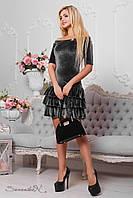 Короткое, нарядное и облегающее платье из велюра, 42-48 размер