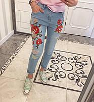 Джинсы с вышивкой и жемчугом цветы и бабочки ХАР-2