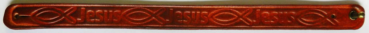 Браслет шкіряний: Jesus (рибка) №1, фото 2
