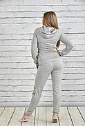 Женский спортивный костюм со змейками 0336 цвет светло серый размер 42-74, фото 3