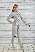 Женский спортивный костюм со змейками 0336 цвет светло серый размер 42-74, фото 2