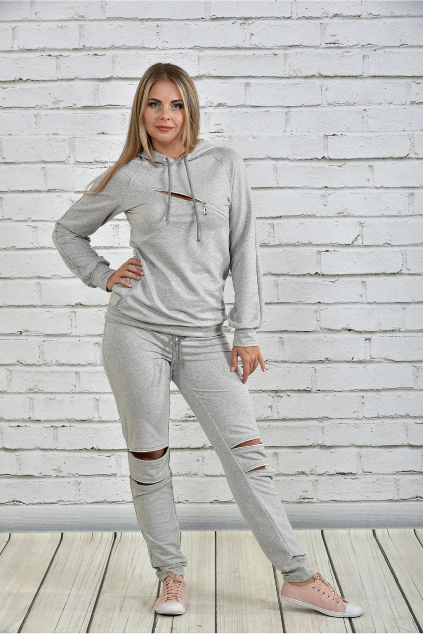 Женский спортивный костюм со змейками 0336 цвет светло серый размер 42-74