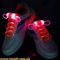 Светящиеся шнурки для обуви (красные, LED) + батарейки CR2032 в подарок