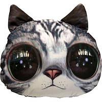 """Антистресова іграшка м`яконабивна """"soft toys 02 """"Кіт глазастий"""" сірий, dt-st-01-02"""