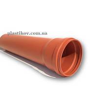 Труба SN 4 / 2 м ПВХ наружной канализацим D 110мм / 2.7 мм с резиновым уплотнителем