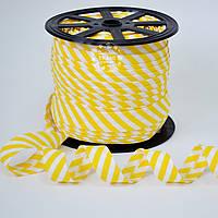 Косая бейка из хлопка с жёлтой полоской 5 мм