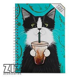 Блокнот Кот со стаканом