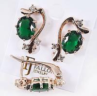 Серьги  позолота FJ FALLON  с английским замком зеленый изумруд