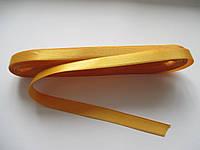 Стрічка атласна  двостороння 1 см. (10 метрів) жовто-гаряча Н-30. Лента атласная двухсторонняя