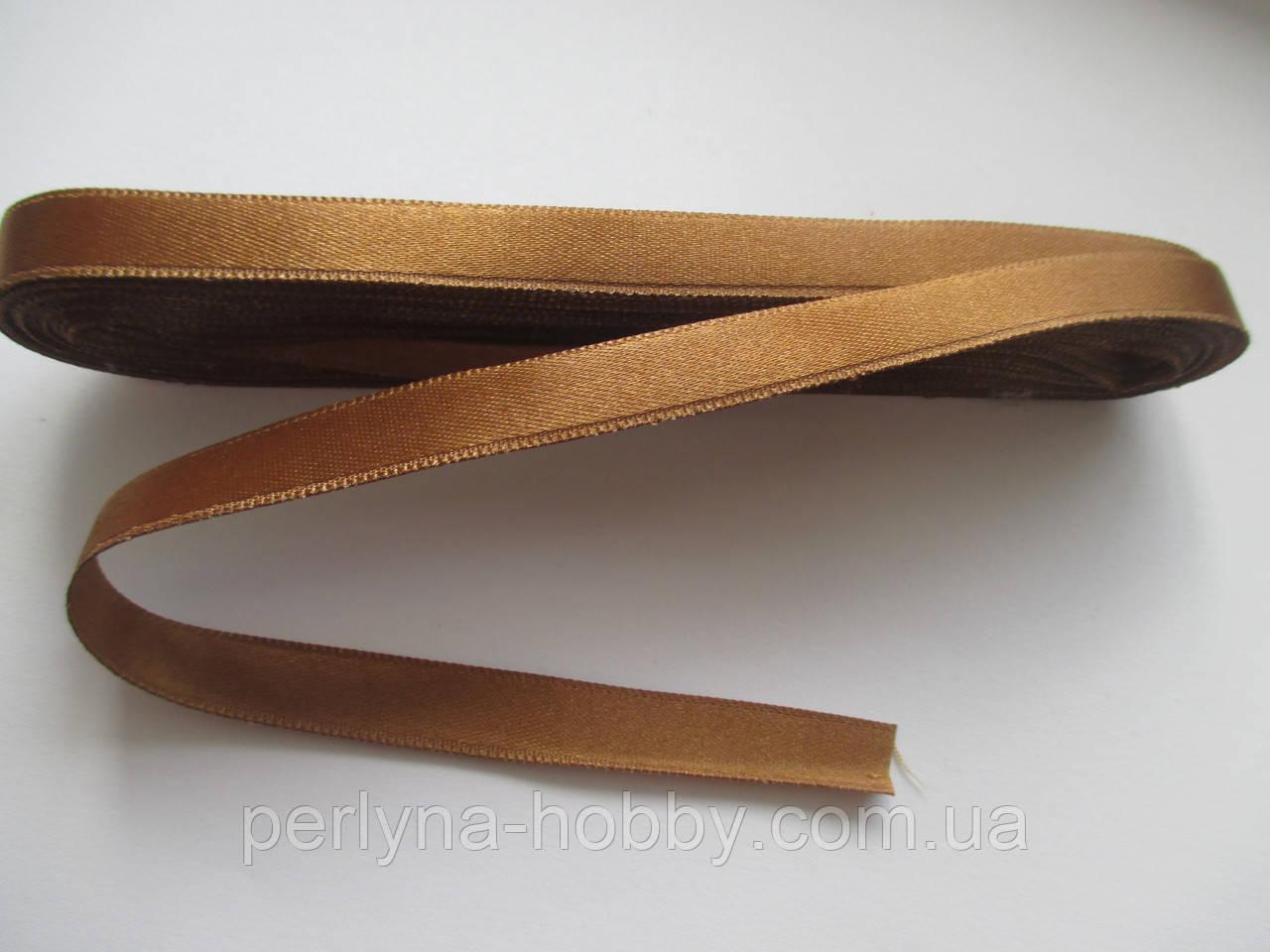 Стрічка атласна  двостороння 1 см. (10 метрів) золотисто-коричневий. Лента атласная двухсторонняя