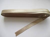 Стрічка атласна  двостороння 1 см. (10 метрів)  сіро- бежевий 07. Лента атласная двухсторонняя