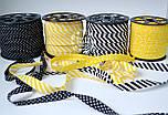 Косая бейка из хлопка с чёрной полоской 5 мм для окантовки, фото 4