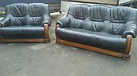 Комплект мягкой кожаной мебели Гризли, 3+2. Диван тройка и двойка.