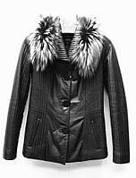 Кожаная женская куртка стеганая с воротником чернобурка