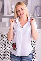 Женская рубашка цветок вышивка (2 цвета),  рубашка из хлопка,