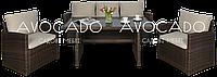 Комплект плетеной мебели   STELA 3 BRAUN диван+кресла+стол